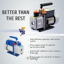 1/3HP 4CFM Air Conditioner Vacuum Pump w Manifold Gauge Set for R12 R134a & More