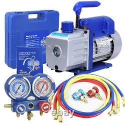 1/3HP Air Vacuum Pump Combo 4 CFM HVAC + Manifold Gauge Set R134A Kit AC A/C