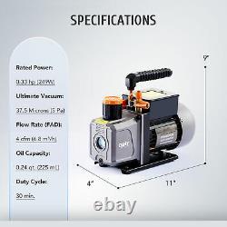 1/3 HP 4CFM Air Vacuum Pump HVAC Refrigeration AC Manifold Gauge Set R134a Kit