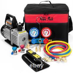 1/3 Hp 4 Cfm Air Vacuum Pump Hvac A/C Refrigerant Kit With Ac Manifold Gauge Set
