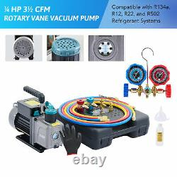 1/4 HP 3.5cfm Automotive AC Vacuum Pump & Manifold Gauge Set Can Tap & 3 Hoses