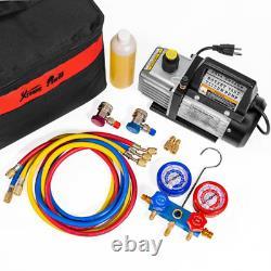 1/4 HP 3 CFM Air Vacuum Pump HVAC A/C Refrigerant Kit with AC Manifold Gauge Set
