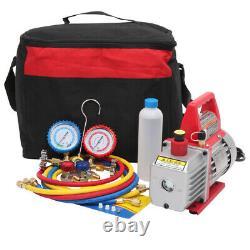 3,5CFM 1/4hp Air Vacuum Pump HVAC Refrigeration AC Manifold Gauge Set R134 Kit
