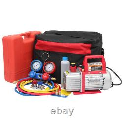 3.5CFM Air Vacuum Pump HVAC Refrigeration AC Manifold Gauge Set R134 R12 R22 Kit