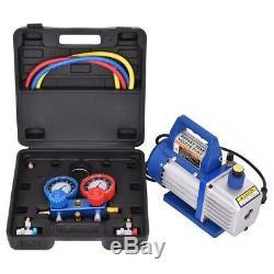 4CFM 1/3HP Air Vacuum Pump HVAC Refrigeration Kit AC Manifold Gauge Set R134 US