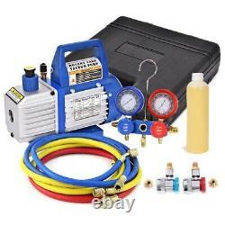 4CFM 1/3HP Vacuum Pump HVAC Refrigeration Kit AC Manifold Gauge Set