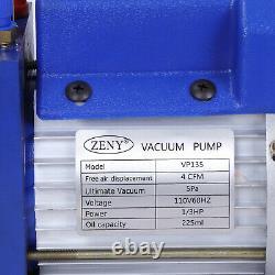 4CFM VALVES MANIFOLD GAUGE R410A R134A R22 HVAC AC Refrigerant Set Vacuum Pump