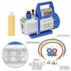 4Cfm 1/3Hp Air Vacuum Pump Hvac A/C Refrigeration Kit Ac Manifold Gauge Set