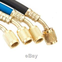 4-Way Manifold 4-Valve Gauge Hose Set R410 R134 R22 Professional AC/HVAC KIT