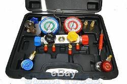 4 Way Manifold Vacuum Gauge Set R134a R410a R22 A/C AC HVAC Refrigeration KIT