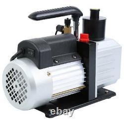 5CFM Air Vacuum Pump 1/3HP HVAC + R134A R410A Kit AC A/C Dual Manifold Gauge Set