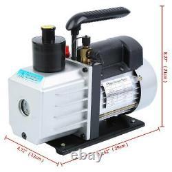 5CFM Air Vacuum Pump R134A R410A Manifold Gauge Set Refrigerant 1/3HP Electric