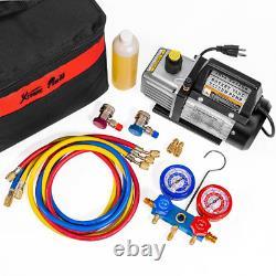 AC Manifold Gauge Set 1/4 HP 3 CFM Air Vacuum Pump HVAC A/C Refrigerant Tool Kit