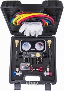 AC R1234YF Gauge Set Automotive 4 Valve Manifold Gauge Compatible Refrigerants