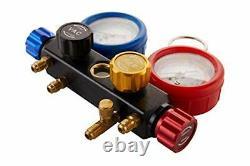 AC R1234YF R134A Gauge Set, Automotive 4 Valve Manifold Gauge Compatible Freon