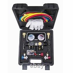 AC R1234YF R134A Gauge Set, Automotive 4 Valve Manifold Gauge Compatible with