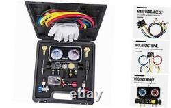 AC R1234YF R134A Gauge Set, Automotive 4 Valve Manifold Gauge Compatible with R