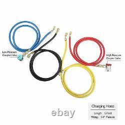 AURELIO TECH AC Manifold Gauge Set 4 Way R410a R22 R134a with Hoses Coupler A