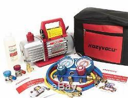 AUTO AC Repair Complete Tool Kit -1-Stage 3.5 CFM Vacuum Pump, Manifold Gauge Set