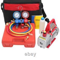 AUTO AC Repair Complete Tool Kit 3.5 CFM Vacuum Pump, Manifold Gauge Set, Hoses