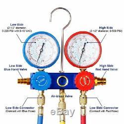 A/C AC Diagnostic Manifold Gauge Set R410a R22 R134a for Freon Charging 5FT Hose