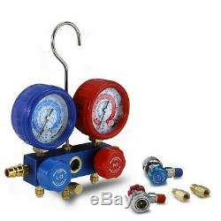 Air Compressor Refrigerant Kit w Manifold Gauge Set Air Vacuum Pump 1/4 HP 3 CFM