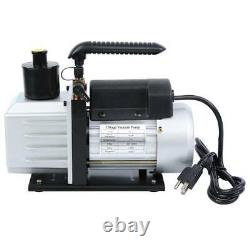 Air Vacuum Pump 5CFM 1/3HP HVAC + R134A R410A Kit AC A/C Dual Manifold Gauge Set