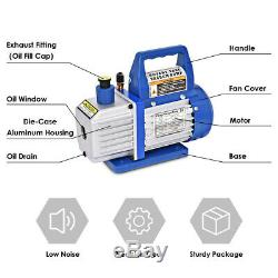 Air Vacuum Pump HVAC Refrigeration Kit AC Manifold Gauge Set R134 4CFM 1 3HP