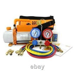 BACOENG 3CFM Vacuum Pump & Manifold Gauge Set HVAC A/C Refrigeration Kit R12