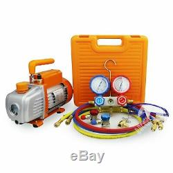 BACOENG 3.6CFM Vacuum Pump Manifold Gauge Set HVAC A/C Refrigeration Kit D