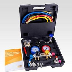 BACOENG Pro 4 Way AC Diagnostic Manifold Gauge Complete Set for R134A R410A R22
