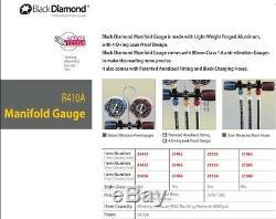 Black Diamond Manifold Gauge Set R32 R410a & 60 Charging Hoses 5/16 Sae Only