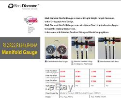 Black Diamond Manifold Gauge Set R404a R407c R134a R600a & 60 Hoses 1/4 Sae