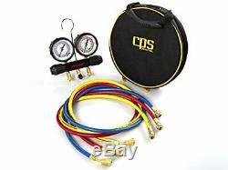 CPS Pro-Set MT2H7P5 2 Valve Manifold, R-134a, 22, 404A, 410A Gauges & 5' P Hoses