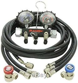 CPS Products CPSMAID8QZ CPS MAID8QZ Blackmax Chrome Manifold Gauge Set with Col