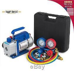 Combo 3,5CFM 14HP Air Vacuum Pump HVAC + R134A Kit AC AC Manifold Gauge Set 5Pa