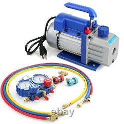 Combo 3,5CFM 1/4HP Air Vacuum Pump HVAC + R134A Kit AC A/C Manifold Gauge Set U9