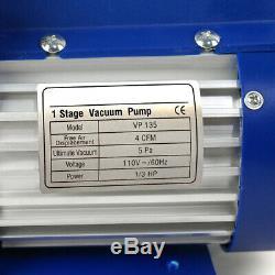 Combo 4CFM 1/3 HP Air Vacuum Pump HVAC Refrigeration KIT A/C Manifold Gauge Set