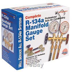 Complete R134 R-134 Manifold Gauge And Hose Set New