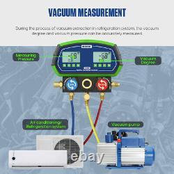 Digital Manifold Gauge Set HVAC Refrigeration Kit Vacuum Pressure Leakage Tester