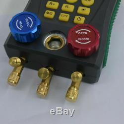 Digital Refrigeration Manifold HVAC Gauges Vacuum Pressure Temperature Test Set