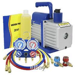 Dual Gauge A/C Diagnostic Manifold Tester Set R134a + 5CFM 1/3HP Vacuum Pump KIT