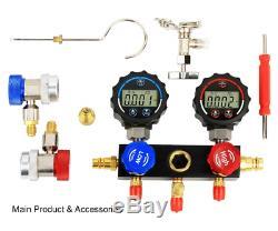 Elitech DMG-1 AC Manifold Gauge Set 2 Way Fits R134A R410A and R22 Refrigerants