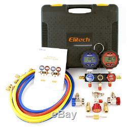 Elitech HVAC Tools Set Refrigerant Leak Detector +Charging Scale +Manifold Gauge