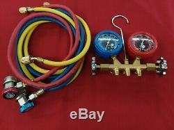 Excellent Matco Tools R134a Brass Manifold Gauge Set Ac13460a (s#1900m)
