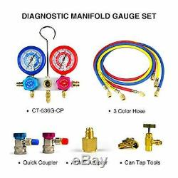 FAVORCOOL CT-136G 3-Way AC Diagnostic Manifold Gauge Set with Case for Freon