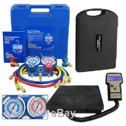 HVAC A/C Air Refrigeration Kit AC Manifold Gauge Set Brass R134A R410A R22