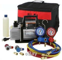HVAC Air Vacuum Pump 110 Volt 1/4 HP A/C Refrigeration Kit AC Manifold Gauge Set