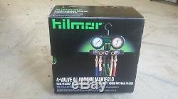 Hilmor 1839110 4-Valve Aluminum Manifold Set R410A with Hoses HVAC Gauges