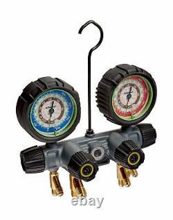 Hilmor 1839129 HP 22-407C-410A 4-Valve Aluminum Manifold HVAC Gauge Set